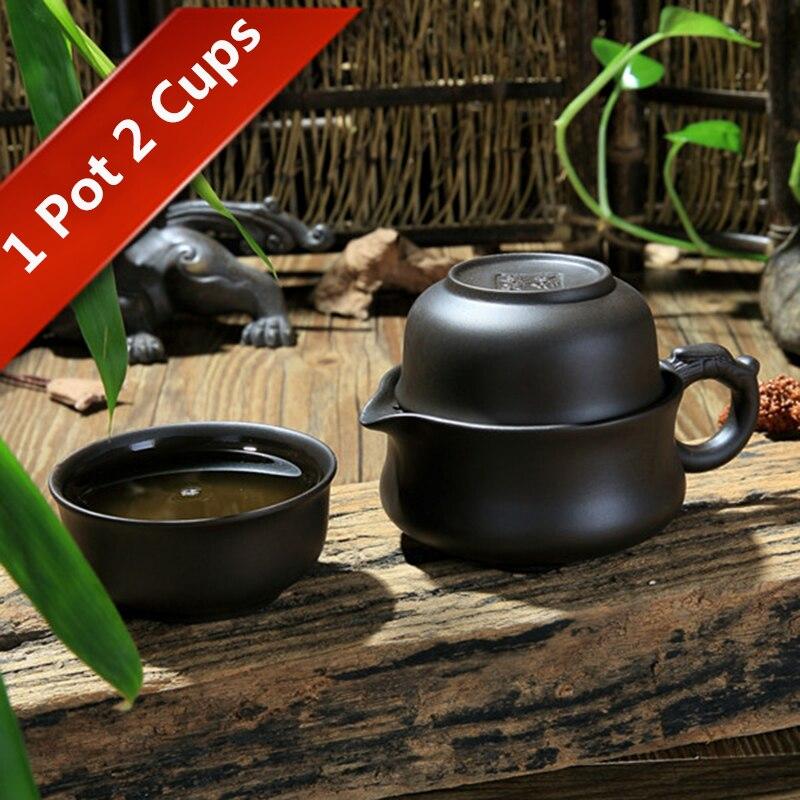Juego de té de viaje 1 tetera 2 tazas Kung Fu Teacup chino Gaiwan tetera bebedero portátil taza de té casa Oficina senderismo picnic Camping