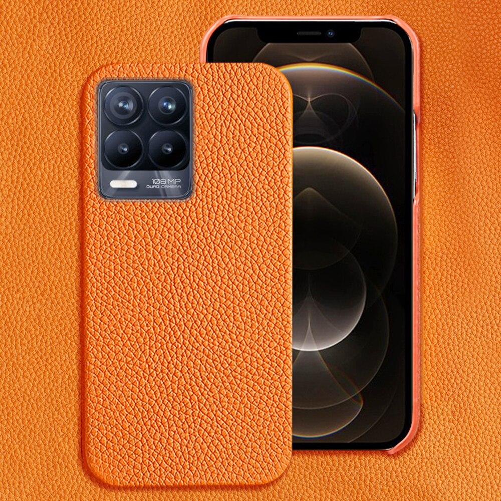 Genuine Litchi Grain Leather Case For Realme 8 Pro 7 6 Pro X2 Xt X7 Pro C3 Gt Neo Cover For Oppo A9
