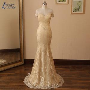 Off the Shoulder Lace Long Mermaid Evening Dress 2020 Sweetheart Dinner Gown Champagne Party robe de soirée de mariage