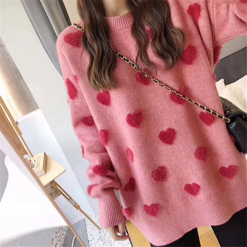 Sweater women's loose jacket fall winter love pullover long sleeve lazy style  red fashion retro knit top 2020 New hot sale