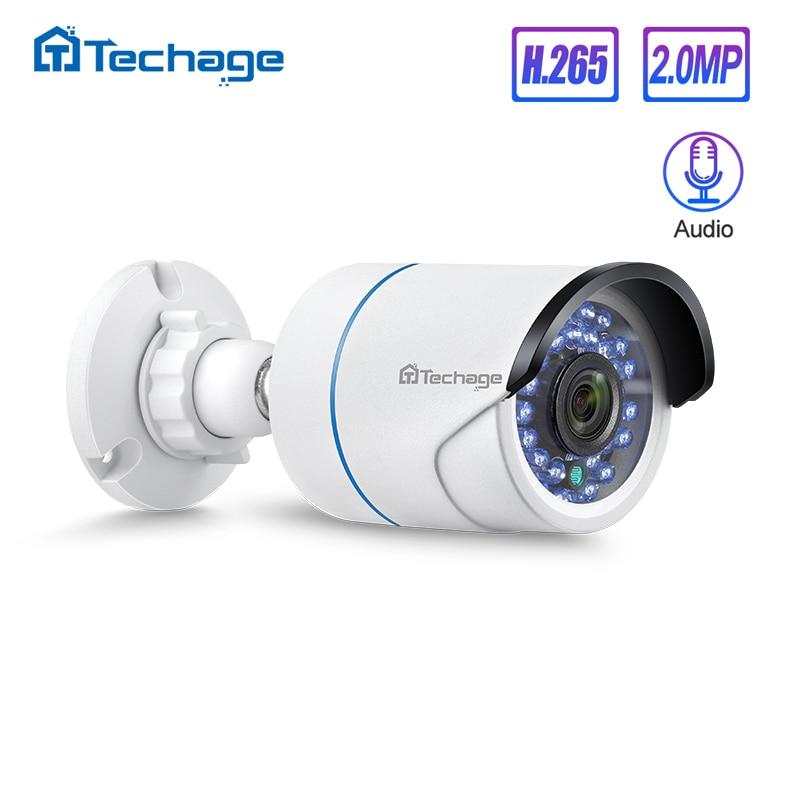 Techage H.265 HD 1080P 2.0MP Аудио CCTV POE IP камера наружная Водонепроницаемая IR Cut Bullet P2P Onvif видеонаблюдение