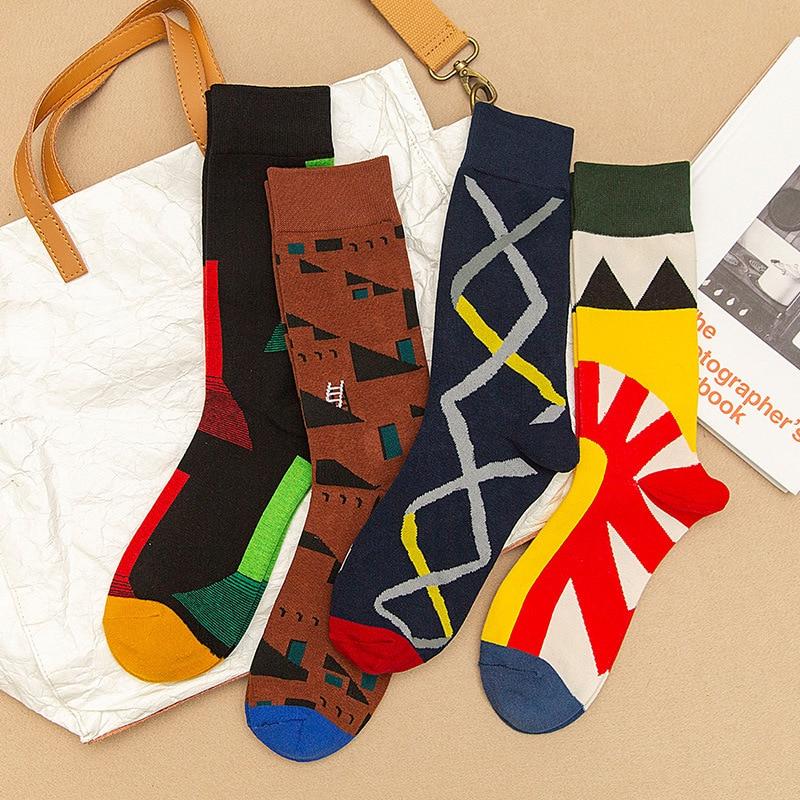 Moda Streetwear Calcetines felices para Hombre Calcetines de algodón con colores geométricos...