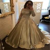 arabic gold wedding dresses ball gown long sleeves silk satin wedding dress boat neck appliques turkey bridal gowns robe mariee