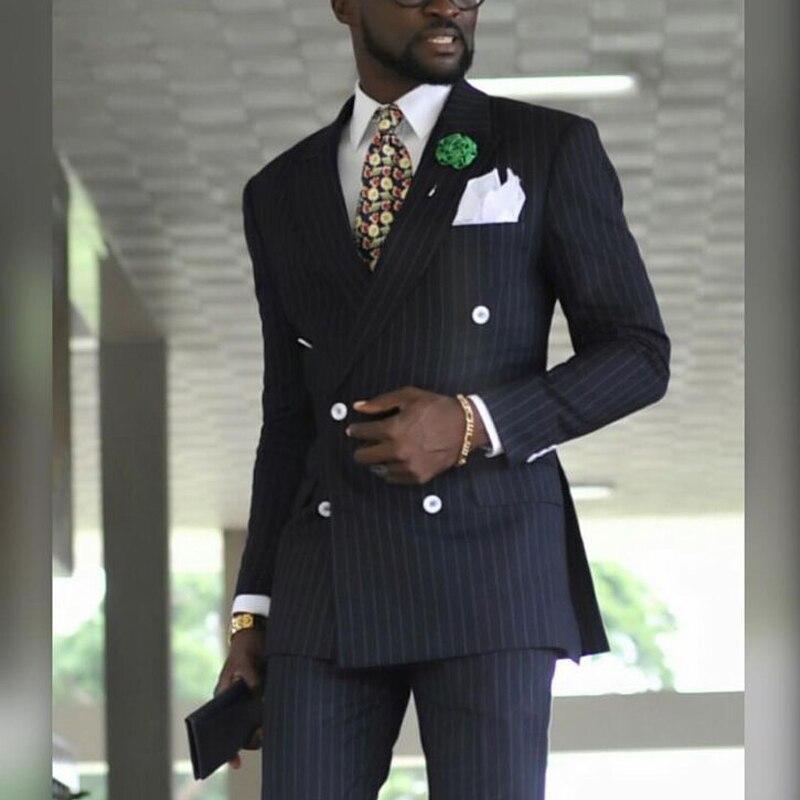 Мужской двубортный деловой костюм в полоску, официальный свадебный смокинг с заостренным лацканом, мужская куртка и брюки, одежда из 2 предм...