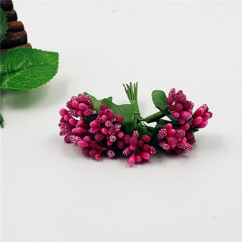 Flores artificiales con estambres de baya Bacca para decoración de boda DIY, guirnalda decorativa para álbum de recortes, flores falsas PI669