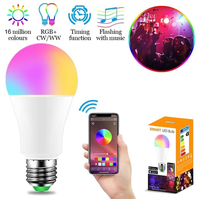 E27/B22 Bluetooth Multicolor LED Bulb 110V 220V Dimmable Bluetooth Smart Light Bulb Remote Control Led Lamp for Home Lighting