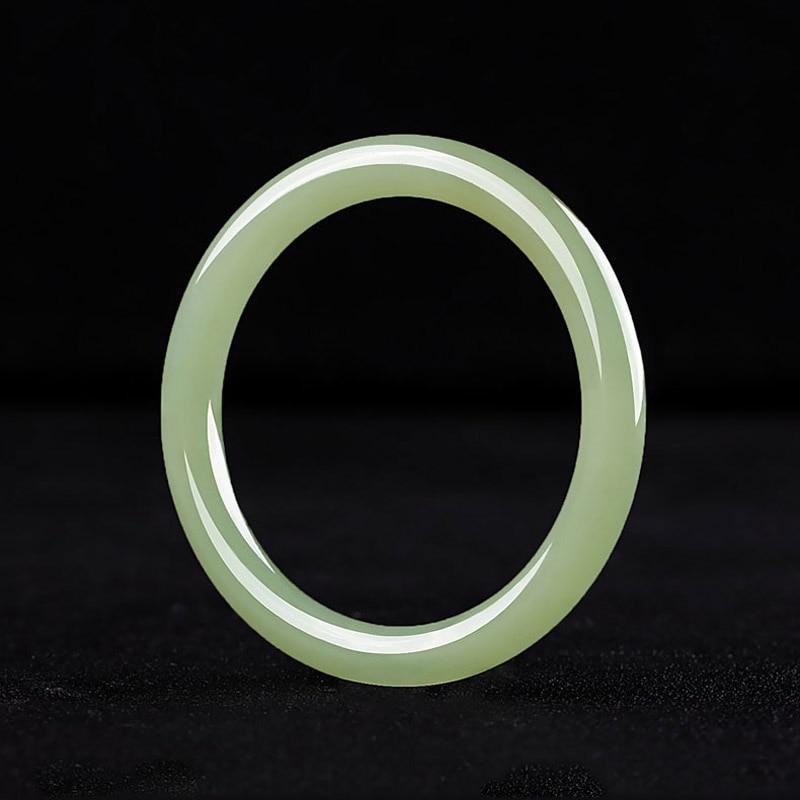 Natural Hetian jade green white jade bracelet Women fashion round strip jade jewelry bangle gift box