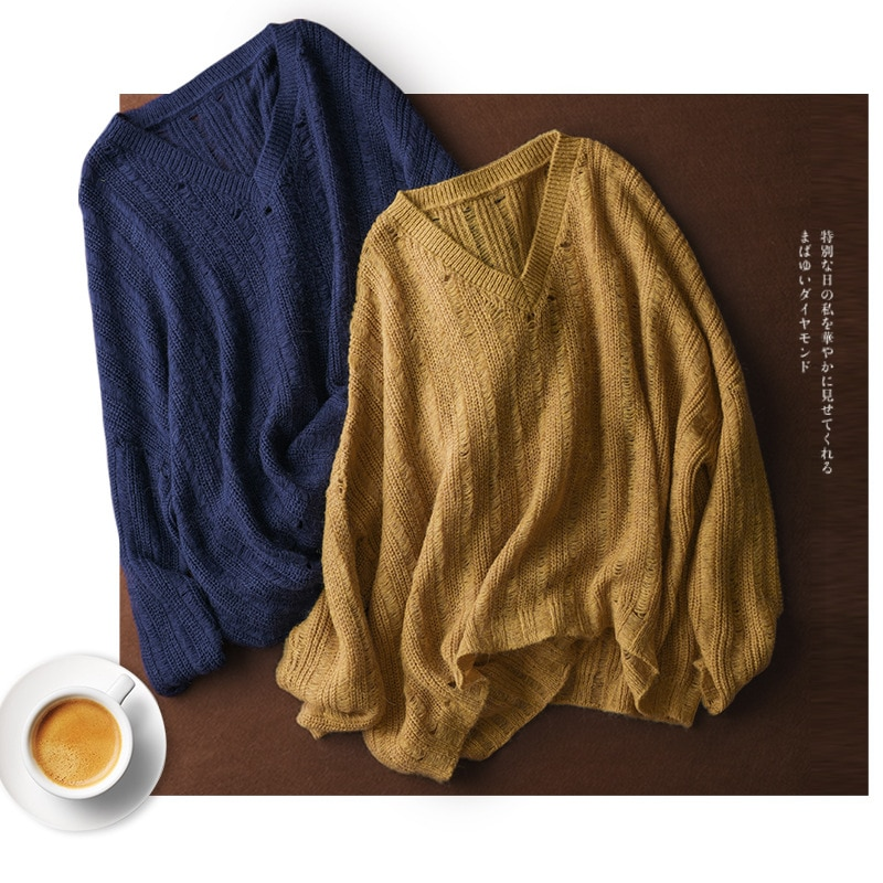 SHUCHAN Pullover Sweater Women Blend Hole Mohair Acrylic Wool Hollow Out Streetwear Oversized Pullover Thin  Spring/Autumn enlarge