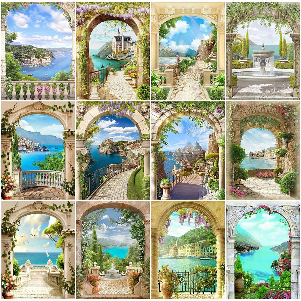 HUACAN Diamond Painting Full Square Seaside Scenery Room Decor Mosaic Door Landscape Embroidery Diamond Art