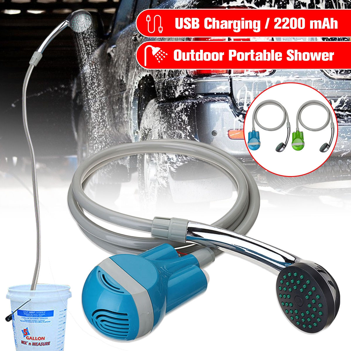 Portable Camping ShowerCar Washer 12V Wireless Car Shower DC 12V pump pressure shower Outdoor Travel Caravan Van Pet Water Tank