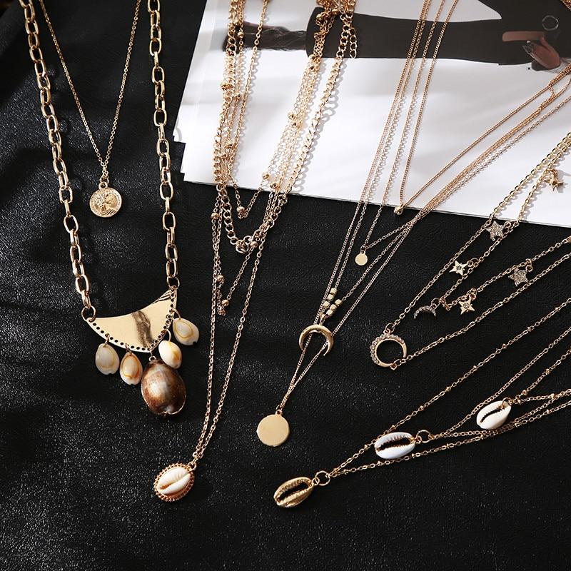 Luokey boêmio concha colares para as mulheres longo gargantilha charme instrução grande puka pingente colar 2020 verão oceano cowrie jóias