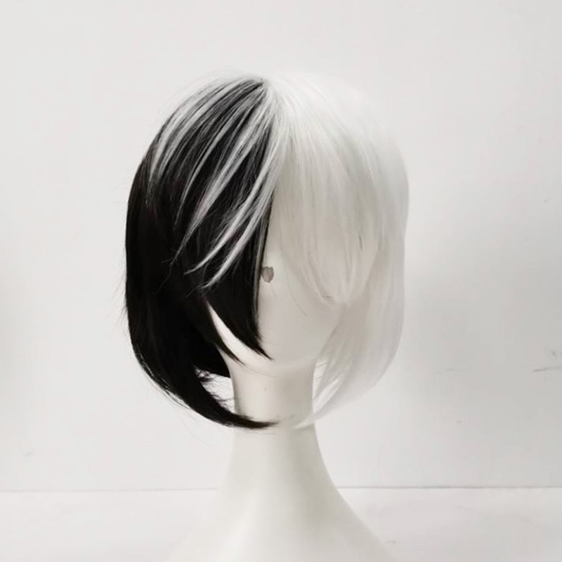 New Design Bob Short Half Black and White Heat Resistant Synthetic Hair Wigs Bungo Stray Dogs Kyuusaku Yumeno Cosplay Wig