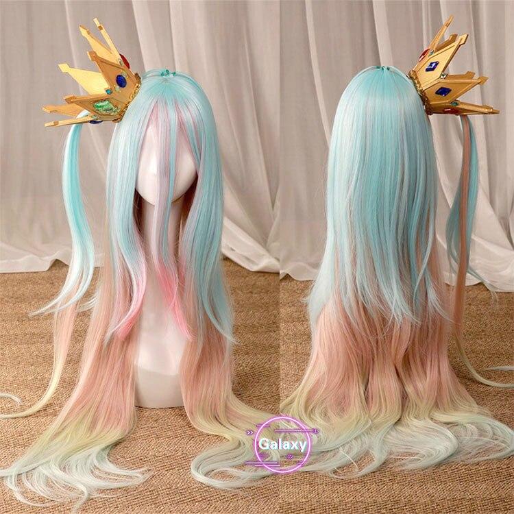 Nenhum jogo sem vida shiro sora eva cosplay coroa prop headwear longa cor mista reta/curto roxo peruca vermelha festa de halloween