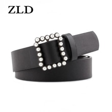 ZLD New High Quality women Luxury Brand Designer Belts fashion Pearl square buckle decoration Strap