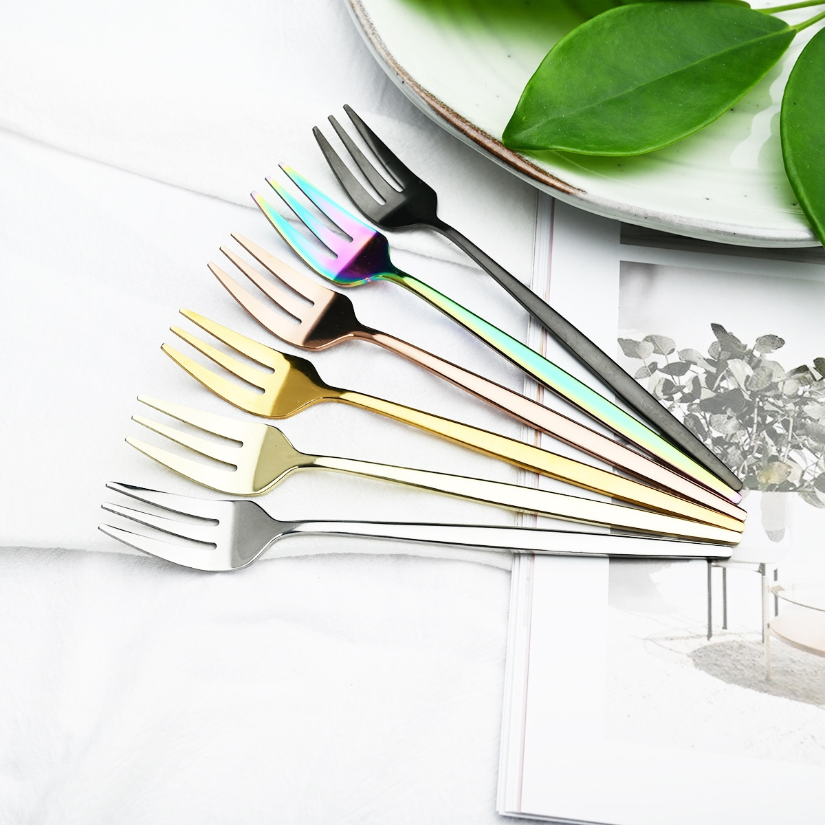 AliExpress - 6Pcs/Set Gold Fork Set Tea Cake Snack Fork Dinnerware Cutlery Mirror Stainless Steel Tableware Dessert Fruit Fork Silverware Set