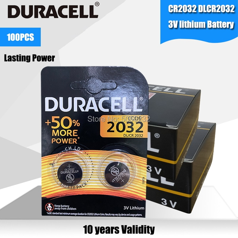 Pila de botón 3V DURACELL CR2032 Original de 100 Uds., baterías de litio para relojes de juguete, calculadora de ordenador, Control DL/CR 2032