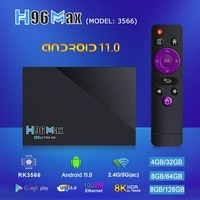 H96 MAX 3566 Android 11 ТВ коробка RK3566 DDR4 8G Оперативная память 128G Встроенная память 8K 2,4G/5G двойной WI-FI 1000M Lan, 4K Youtube 3D Media Player Декодер каналов кабельного т...