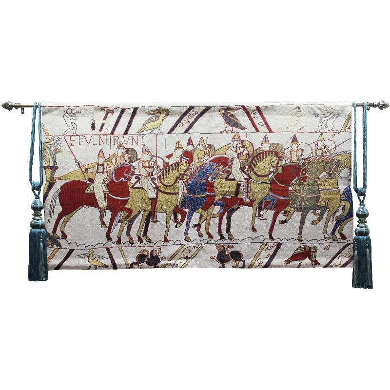 Cultural Tapeçaria tapeçaria belga-estilo Europeu medieval guerra-cavalo 80X140CM