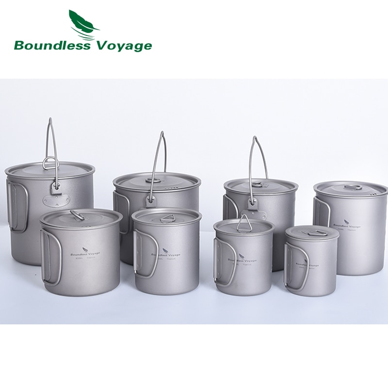 AliExpress - Boundess Voyage Titanium Cup Camping Hanging Pot with Folding Handle and Lid Outdoor Pot Picnic Cookware Tea Coffee Water Mug