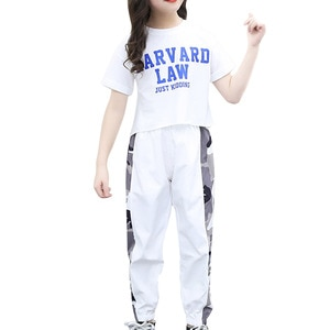Summer Kids Girls Sports Suit Tracksuits Casual Yoga Sets Outfits Clothes Sport Running T-shirts Pants Set Children's Sportswear