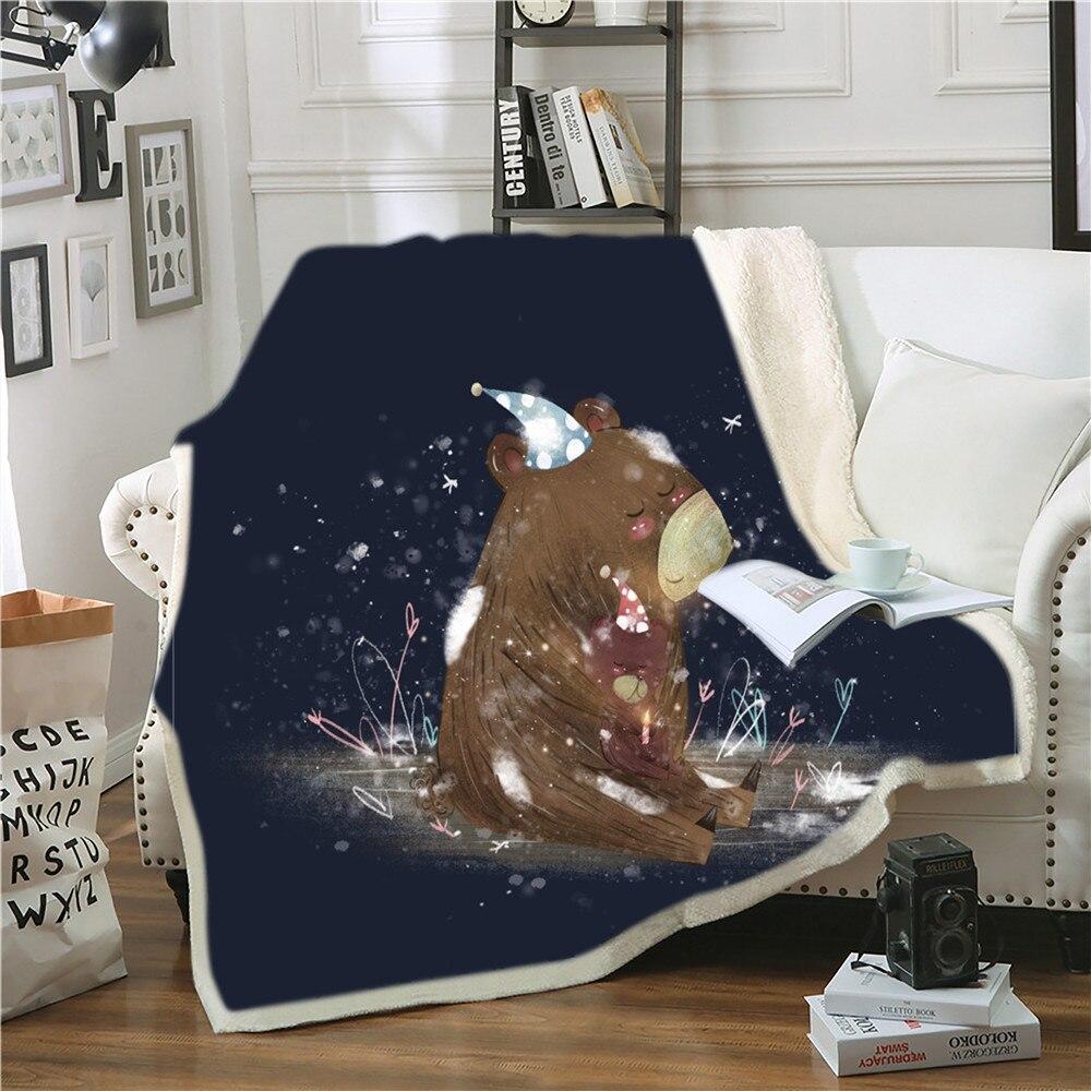 بطانية حيوانات الغابة ، قطيفة شيربا ، ناعمة ومريحة ، للأريكة الكبيرة والصغيرة والكبيرة ، ديكور غرفة النوم ، هدايا للأطفال والبنات