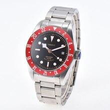 Corgeut massif 41mm cadran noir lunette rouge marques lumineuses verre saphir bracelet inoxydable mouvement automatique montre de plongée homme
