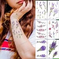waterproof temporary tattoo sticker lavender leaf color purple tatto arm hand body art tatoo man woman child fake flash tattoos