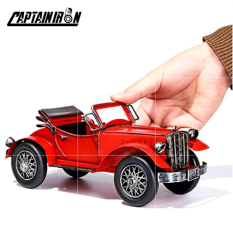 Figuras de coches clásicos CAPTAINIRON, figuras de coches Retro de hierro, decoración de coches americanos, italianos y alemanes, Artesanía de Metal, regalos de decoración Vintage para el hogar