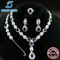 925 sterling silver earrings set for woman wedding jewelry sets rings necklace bracelet women blue red green crystal zircon cz
