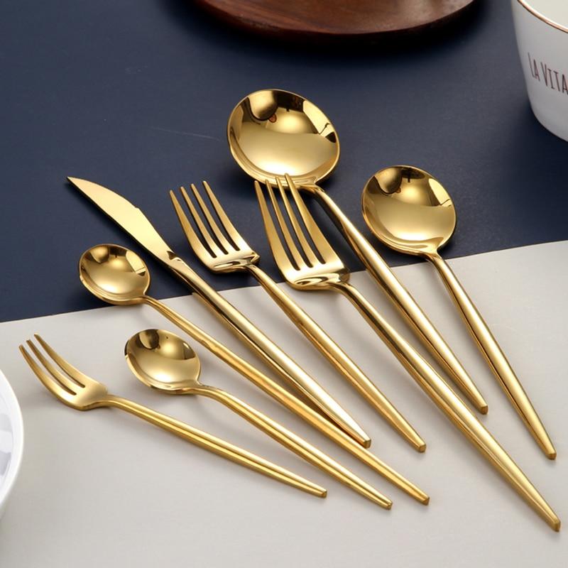 набор приборов iris i8413 pp pink Набор золотых столовых приборов, вилки, ложки, ножи, столовые приборы, стальной набор столовых приборов, набор столовой посуды из нержавеюще...
