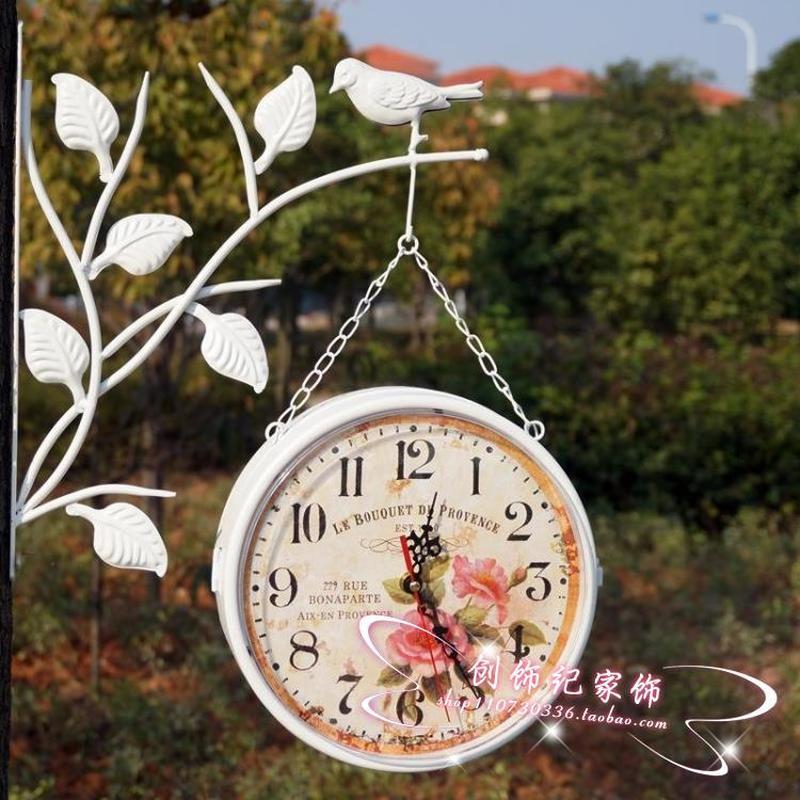 Horloge murale muette de style européen   Horloge murale pastorale, branche à oiseaux, salon, double face, horloge murale ronde coréenne LB51216