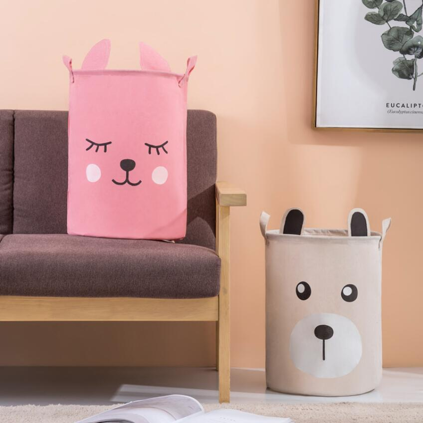 Корзина для белья с мультяшными кроличьими ушками и медведями, домашнее хранилище корзина, украшение для хранения, детский игрушечный орга...