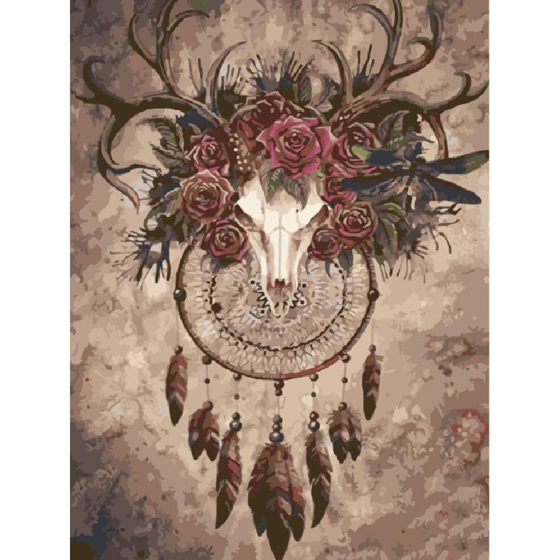 Cabeza de ciervo indio. Pintura hecha a mano lienzo de alta calidad hermosa pintura por números regalo sorpresa gran éxito