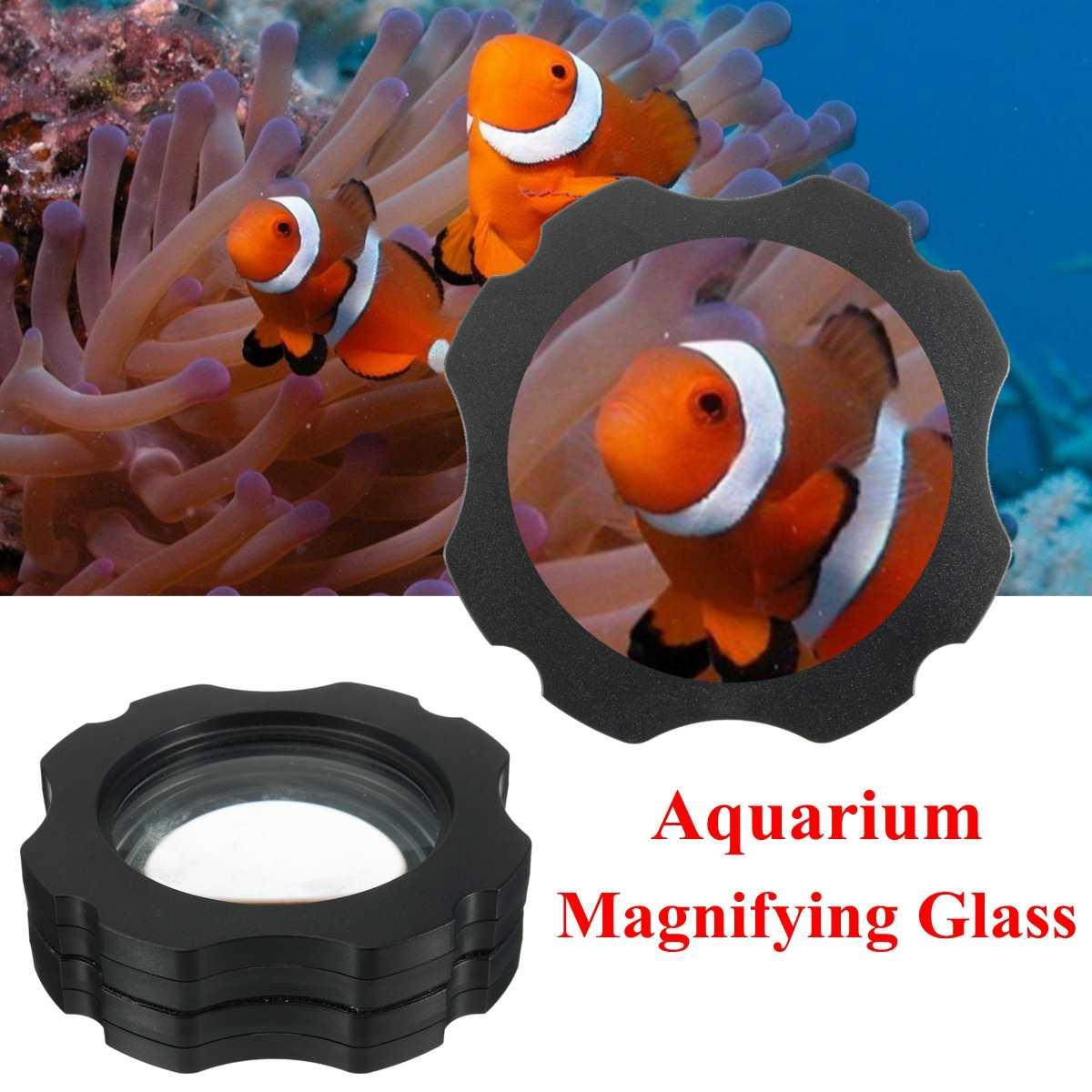 Aquarium Magnetic Fish Tank Glass Cleaner Scraper Magnifier Up to 15mm