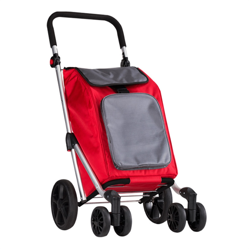 Shopping Cart with Dual Swivel Wheels for Groceries Compact Folding Portable Bag Saves Space Adjustable Handle Lightweight