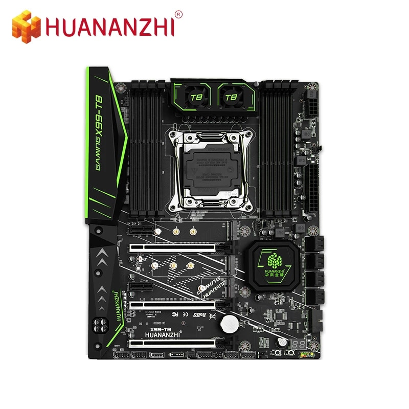 HUANANZHI X99-T8 اللوحة يدعم إنتل زيون E5 X99 LGA2011-3 جميع سلسلة DDR3 RECC NON-ECC الذاكرة NVME USB3.0 ATX الخادم
