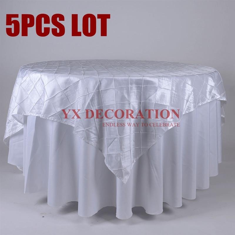 5 uds lote tafetán Pintuck mantel superpuesto para decoración evento boda banquete