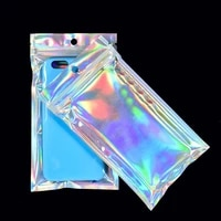50pcs laser ziplock bag cosmetic packaging self sealing gift bag clear holographic jewelry thick aluminum foil zip lock bags