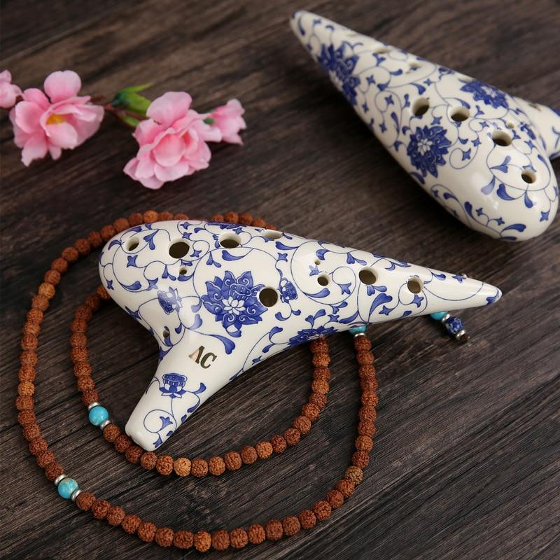 Blue and White Porcelain Ocarina 12 Holes 18*8CM Vintage Chinese Style Colored Glaze Handmade C Key Orff Musical Instrument 2021