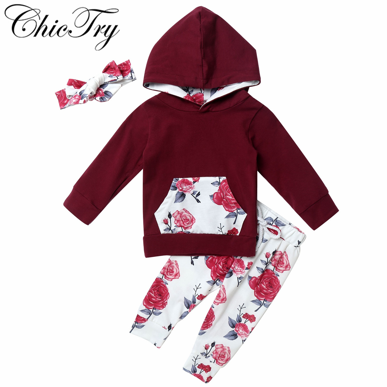 Baby Girls Outfits Toddler Kids Baby Girl Tops Floral Print Rompers Pants Clothes Sets ropa de baby