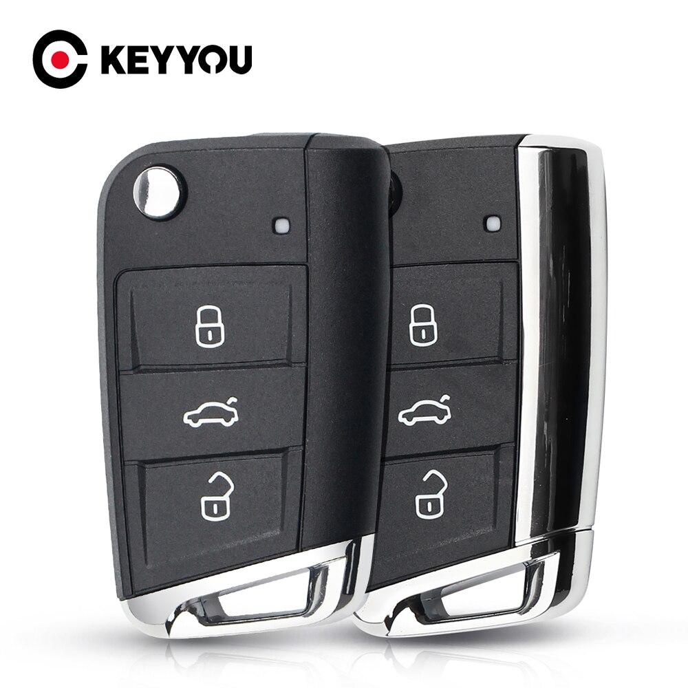 KEYYOU-llave plegable de Metal para coche, 3 botones, para Volkswagen Passat, Golf...