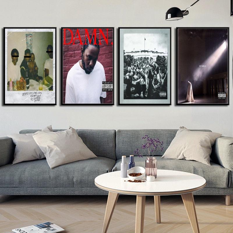 Kendrick Lamar MALDITA Humilde Álbuns de Música Quente Tampa Hip Hop Rap Estrela da Música Cartaz Da Parede Da Lona Pintura Da Arte de Seda Casa decor No Frame o429