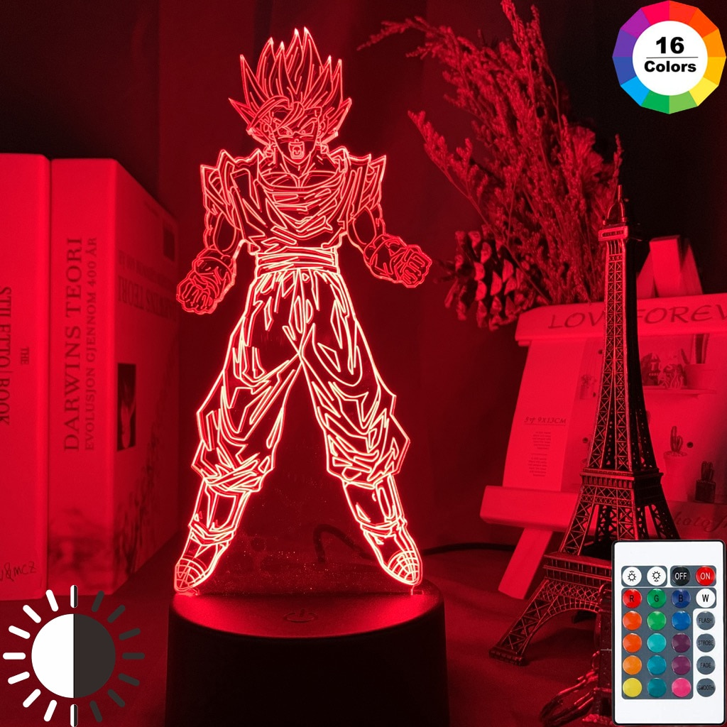 3d Led Night Lamp Dragon Ball Goku Super Saiyan Figure Atmosphere for Child Bedoom Decor Nightlight Bedside 3d Night Light Gift