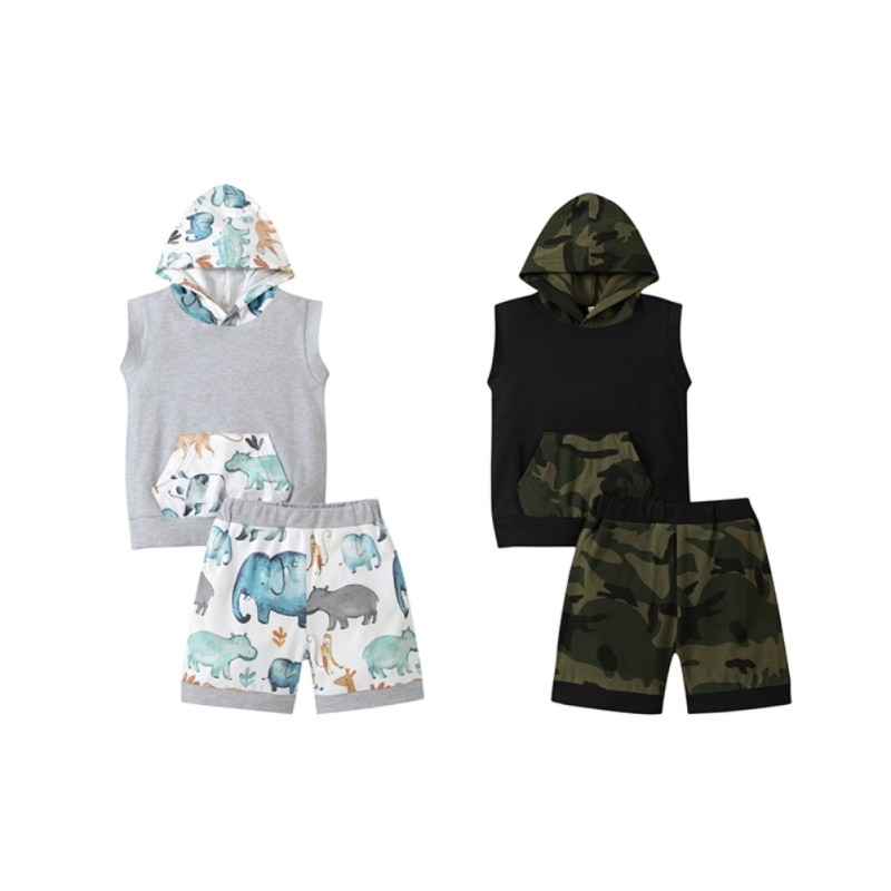 Toddler Baby Infant Boy Clothes Camo Sleeveless Hoodie Sweatsuit Vest +Camouflage Shorts Summer Outfit Set