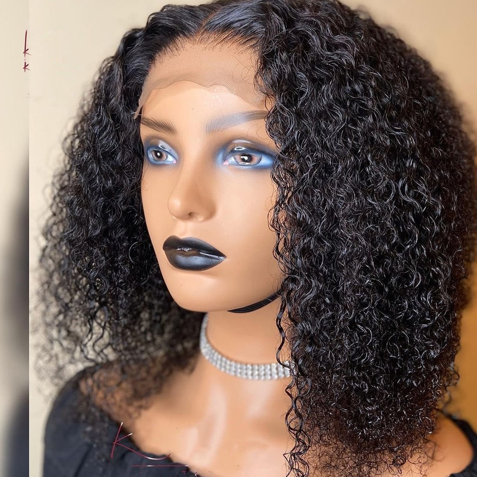 comprimento medio bob natural preto encaracolado perucas da parte dianteira do laco