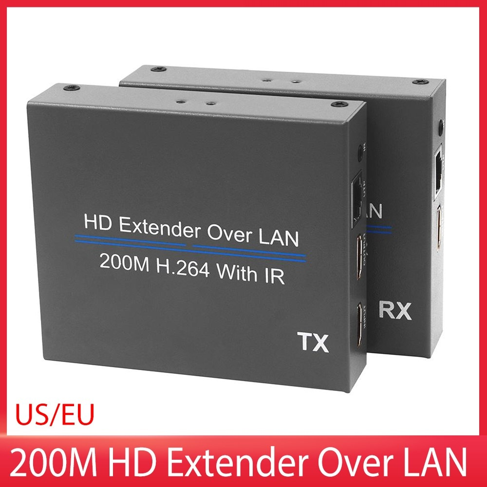200M HD Extender Over UTP CAT5e/6 Rj45 LAN Network Support 1080p with IR Extension HDMI-Compatible Splitter Transmitter Receiver