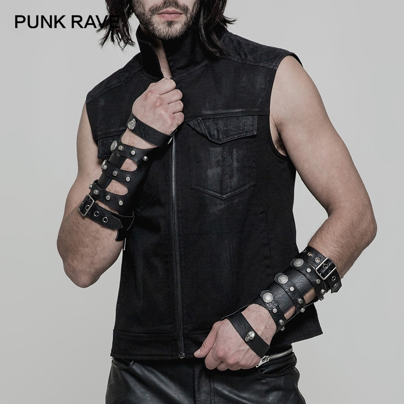 Punk rave punk crânio oco loop ajustar fivela luvas de couro masculino dieselpunk fingerless militar motociclo braço manga um par