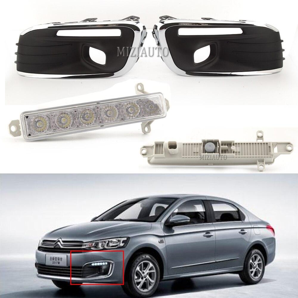 2 stücke LED Auto Tagfahrlicht Für Citroen C-Elysee 2016 DRL 6 LEDs licht nebel lichter abdeckung quelle Auto Styling Wasserdicht