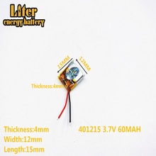 Batería de polímero de litio de 3,7 V con batería de 401215 mah MP3 MP4 60MAH auriculares pequeños Bluetooth con sonido de juguete