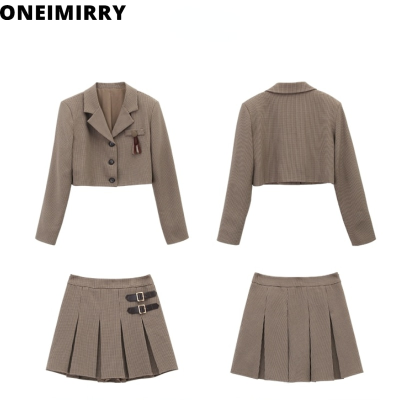 Houndstooth و المحاصيل الأعلى + تنورة الدعاوى المرأتين 2 قطعة مجموعة خمر منقوشة الكورية سترة معطف و البسيطة تنورة ملابس الخريف 2021 جديد